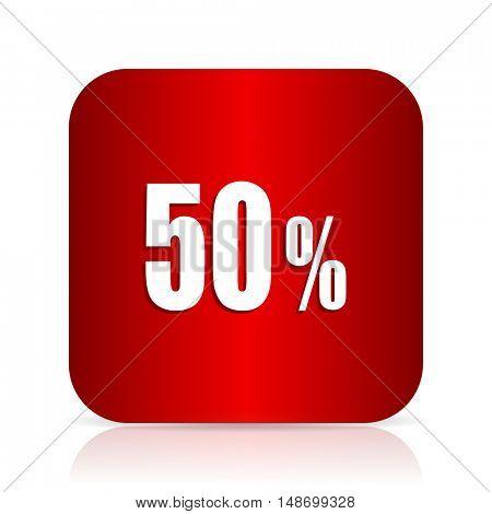 50 percent red square modern design icon
