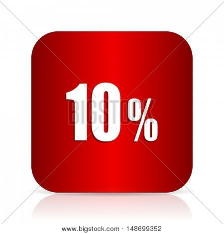 10 percent red square modern design icon