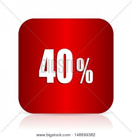 40 percent red square modern design icon