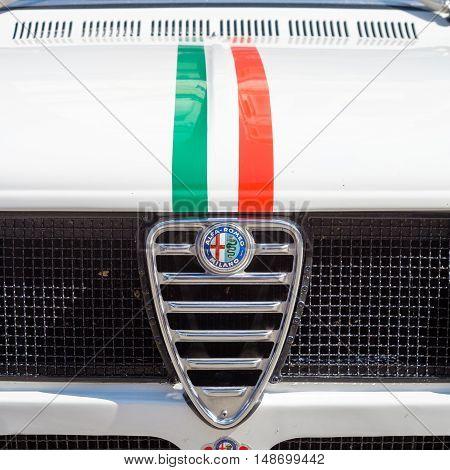 Ferrara Italy -September 24 2016.Front detail of Alfa Romeo Italian automobile history half of the '900
