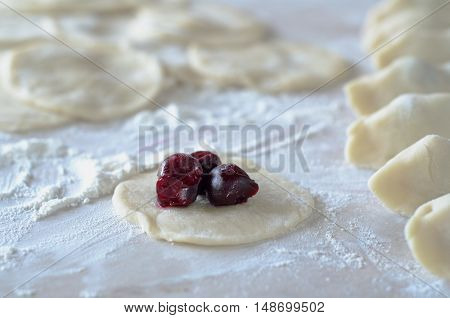 Cooking dumplings with cherries. Pierogi with Cherry.