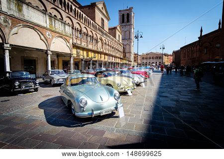 Ferrara Italy -September 24 2016. Exhibition of historical vehicles in the square of the city of Ferrara Italy