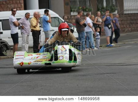 BELGRADE,SERBIA - SEPTEMBER 10 ,2016: Oldtimer sidecar motorcycle at the commercial race of old cars in memory of formula 1 race held on the same place in 1939 two days after the beginning of Second World War when the famous Italian driver Tazio Nuvolari