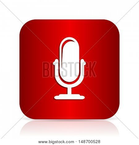 microphone red square modern design icon