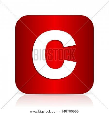 copyright red square modern design icon