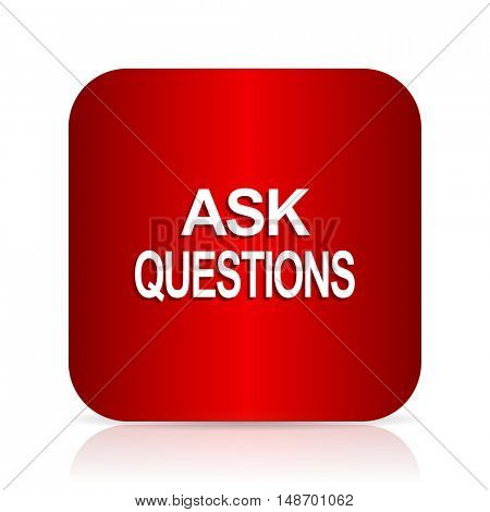 ask questions red square modern design icon