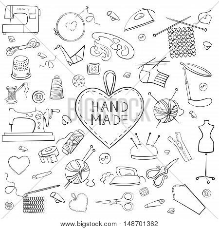 Set of knitting sewing and needlework black icons on the white background. Doodles. Vector illustration.