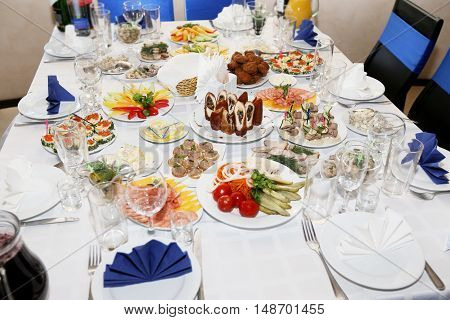 Served holiday table with dishes in restaurant