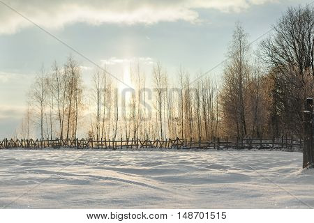 Beautiful winter landscape at sunset. A lot of sparkling white snow. There is no one beside one nature
