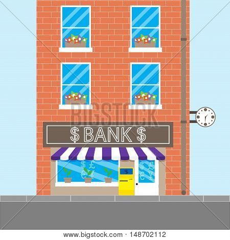 Bank building with brick wall. Finance and money bank. vault and atm. Vector illustration