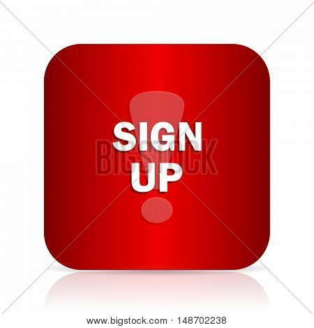 sign up red square modern design icon