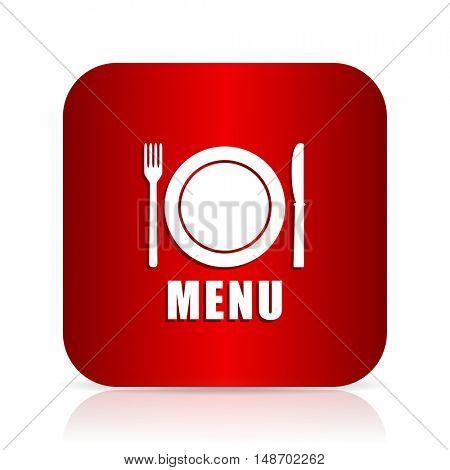 menu red square modern design icon