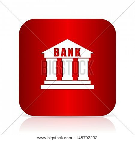 bank red square modern design icon