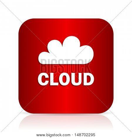 cloud red square modern design icon