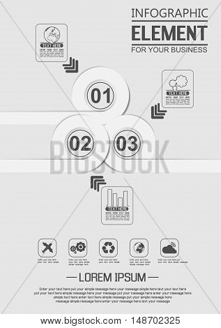 ELEMENT FOR INFOGRAPHIC TEMPLATE GEOMETRIC FIGURE OVERLAPPING CIRCLES SEVENTH EDITION WHITE