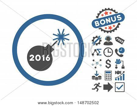 2016 Petard icon with bonus pictograph collection. Vector illustration style is flat iconic bicolor symbols, cobalt and gray colors, white background.