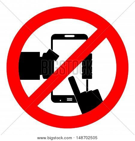 Ban use smart phone. Not to play phone. do not use the phone. Vector illustration