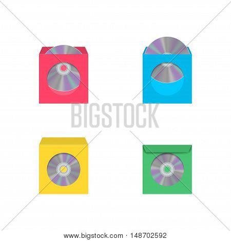 Set of color realistic envelopes with a window for the CD isolated on white background vector illustration.