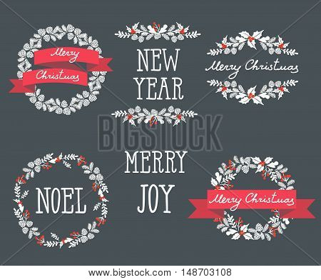Set of winter christmas wreaths, design elements
