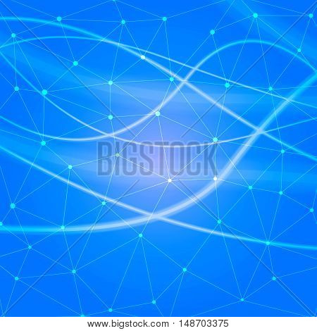 blue Structure molecule and communication Dna, atom, neurons. Science concept for your design. Connected lines with dots. Medical, technology, chemistry, science background. Vector illustration