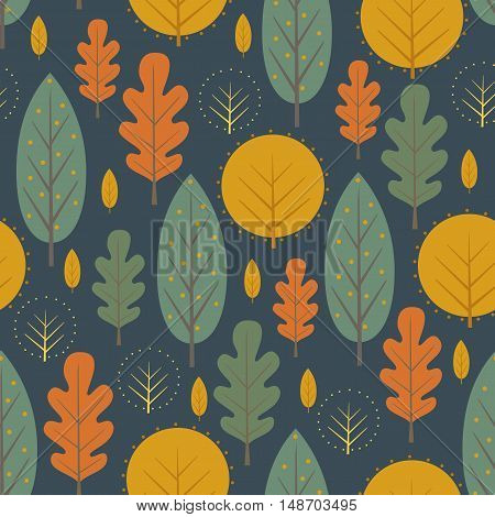 Autumn nature seamless pattern on dark blue background. Decorative leaves vector illustration. Cute forest background with trees. Scandinavian style design for textile, wallpaper, fabric, decor.