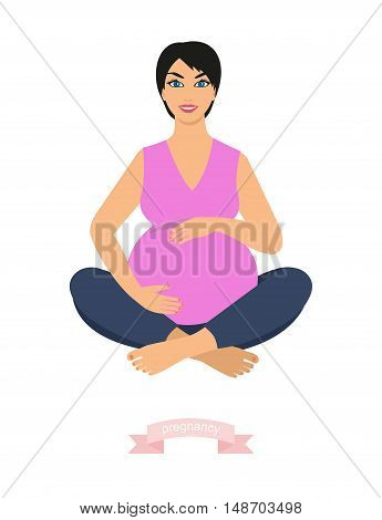 portrait of a beautiful young pregnant woman sitting in yoga pose. happy pregnant woman, vector illustration