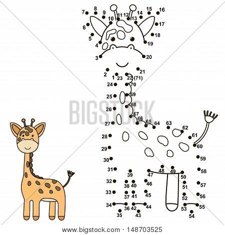 Connect the dots to draw a cute giraffe and color it. Educational numbers and coloring game for children. Vector illustration