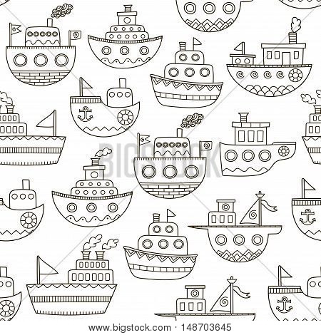 Black and white doodle boats seamless pattern. Hand drawn ships background. Great for coloring book, wrapping, printing, fabric and textile. Vector illustration