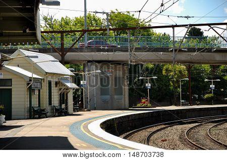 Katoomba, Australia - November 21, 2008: Katoomba railway station, located on the Main Western line in New South Wales, Australia. It serves the Blue Mountains town of Katoomba