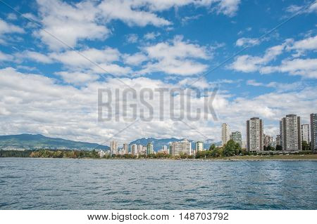 View across the entrance to the Vancouver harbour, in British Columbia
