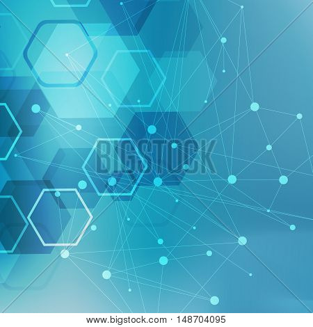 Structure molecule and communication Dna, atom, neurons. Science concept for your design. Connected lines with dots. Medical, technology, chemistry, science background with hexagon in blue. Vector illustration
