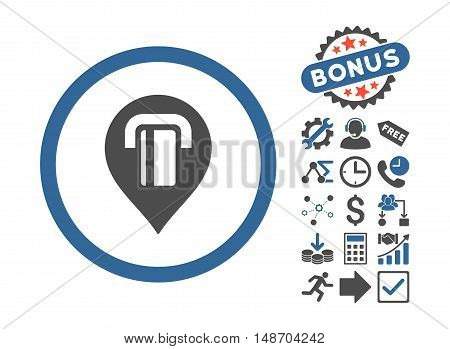 ATM Map Marker icon with bonus symbols. Vector illustration style is flat iconic bicolor symbols, cobalt and gray colors, white background.
