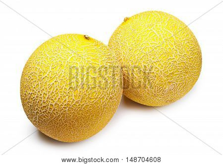 Two round melons on a white background