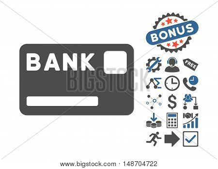 Bank Card pictograph with bonus images. Vector illustration style is flat iconic bicolor symbols, cobalt and gray colors, white background.