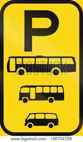 Temporary Road Sign Used In The African Country Of Botswana - Parking For Buses, Midi-buses And Mini