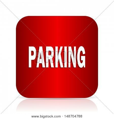 parking red square modern design icon