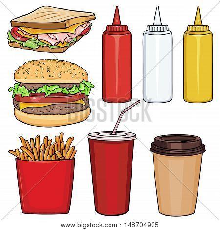Vector Set Of Cartoon Fast Food Items