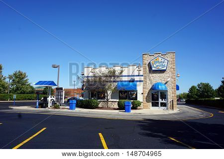 PLAINFIELD, ILLINOIS / UNITED STATES - SEPTEMBER 19, 2016: One may eat hamburgers and other fast food at White Castle Restaurant in Plainfield.