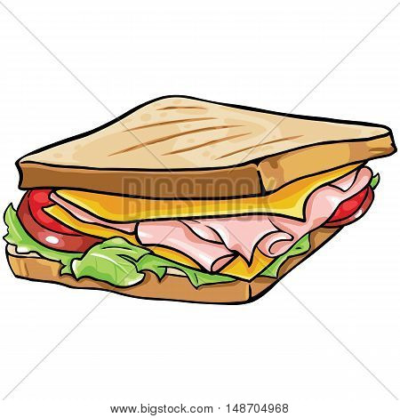 Vector Cartoon Sandwich With Ham And Vegetables