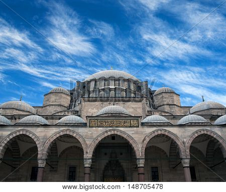 The Suleymaniye Mosque in Istanbul, Turkey. The Suleymaniye Mosque built on the order of Sultan Suleyman the Magnificent. The construction work began in 1550 and the mosque was finished in 1558.
