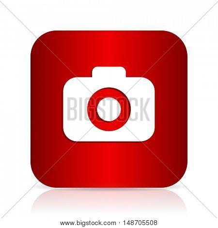 photo camera red square modern design icon