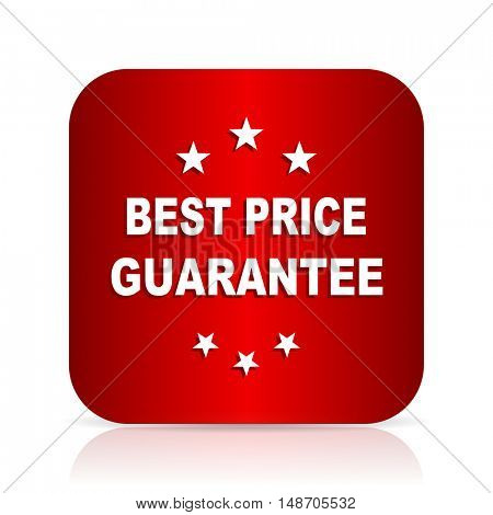 best price guarantee red square modern design icon