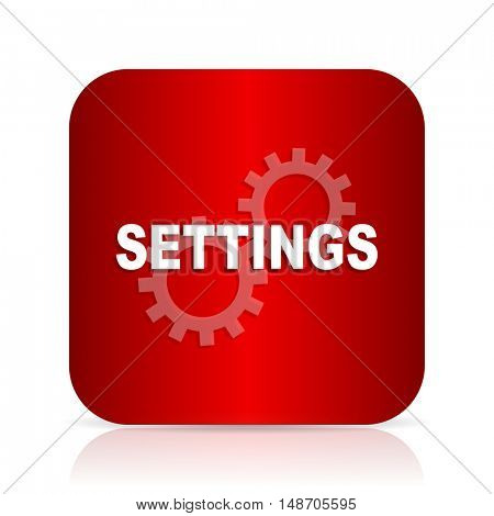 settings red square modern design icon