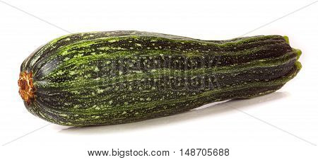 one green zucchini isolated on white background.