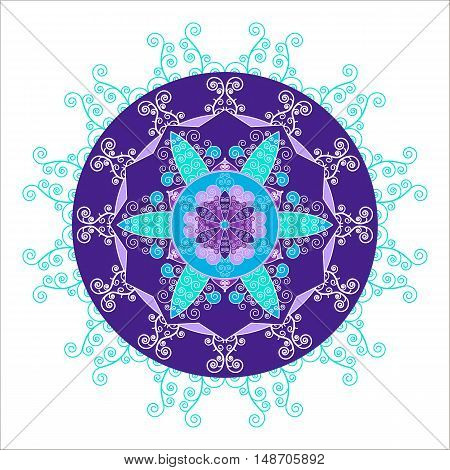 Abstract round snowflake in cool tones. Mandala in the shape of snowflakes. Vector image.