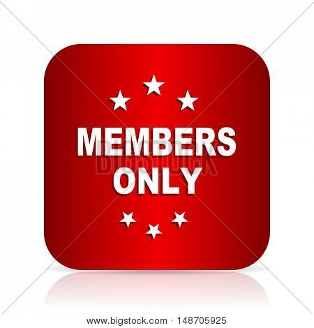 members only red square modern design icon