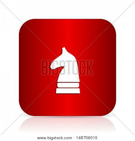 chess horse red square modern design icon