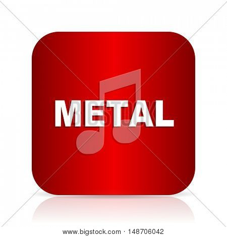 metal music red square modern design icon