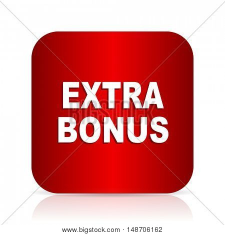 extra bonus red square modern design icon