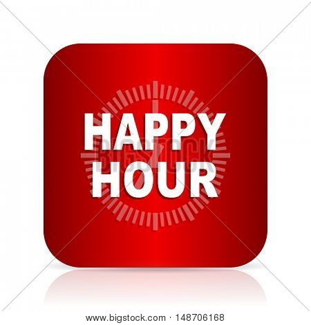 happy hour red square modern design icon